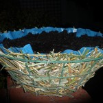 Lining hanging baskets on a budget